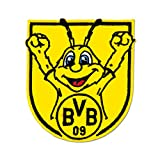 Borussia Dortmund BVB Bügelbild Emma, Polyester Coral Fleece/Baumwolle, Schwarz/Gelb, 5 x 5 x 1 cm