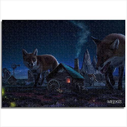 Mini 1000 piezas Night fox Módulo de ensamblaje de patrones Rompecabezas de papel