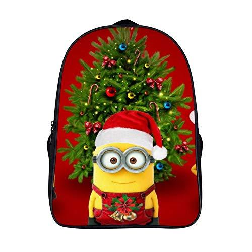 XIAHAILE Kompakte Rucksack Büchertasche für Männer und Frauen, leichter Rucksack für Schul und Urlaubsreisen,Minions Santa Claus Weihnachtsmütze Weihnachtsbaum