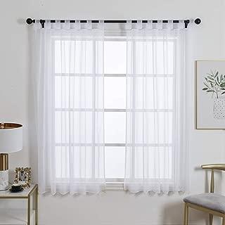 ZebraSmile 1 Panel Tab Top Sheer Drapery Window Treatment Curtain Sheer Curtain for Girls Room Sheer Drape Curtains Voile Drapery White 57(H) X55(W) in
