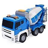 S AFSTAR Safstar 1/18 5CH Remote Control Cement Mixer Truck Crane Heavy Construction Lifting Truck Fire Engine Truck for Kids Toys (Blue Cement Mixer Truck)