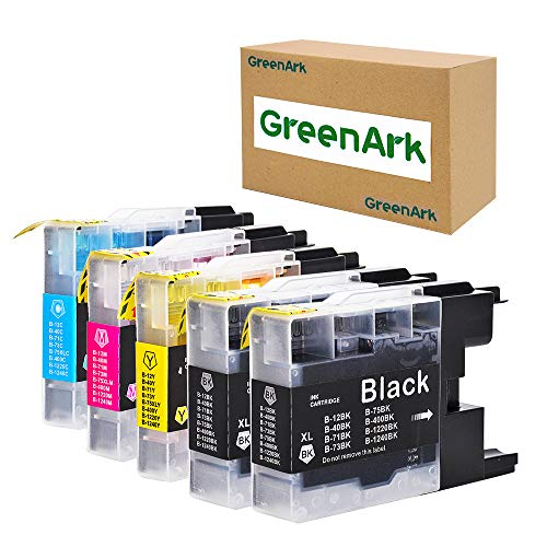 GREENARK Compatible Ink Cartridge Replacement for Brother LC75 LC71XL High Yield Ink Work for Brother MFC-J280W MFC-J425W MFC-J6510DW MFC-J6710DW MFC-J6910DW (2 Black, 1 Cyan, 1 Magenta, 1 Yellow)