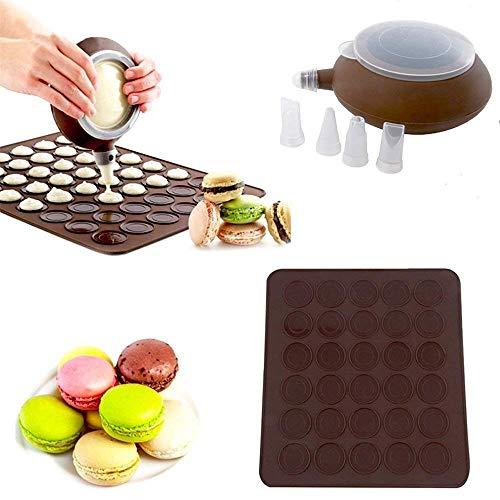 CESHUMD Molde para macarons para macarons franceses, juego de 48 macarons con capacidad para macarons, alfombrilla de silicona para hornear macarons y decoración con 4 boquillas