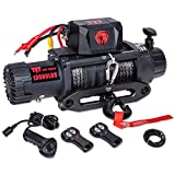 TYT New 13000 lb. Advanced Load Capacity Electric Winch T1, 12V Synthetic Rope Electric Truck Winch with Hawse Fairlead, Waterproof IP67 Winch with Wireless Remotes and Wired Handle(All Black)