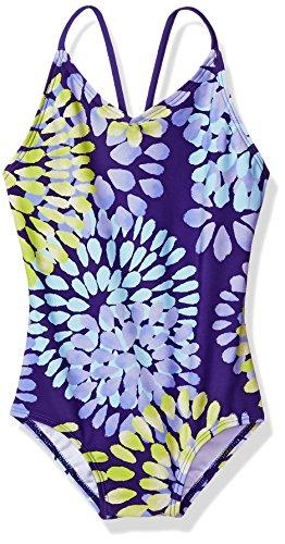Kanu Surf Girls' Big Beach Sport 1-Piece Swimsuit, Daisy Purple, 7