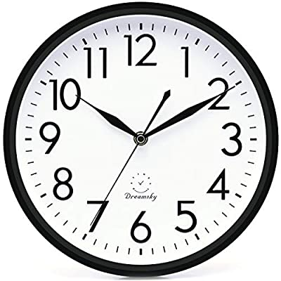DreamSky 10 inches Silent Non-Ticking Quartz Wall Clock Decorative Indoor Kitchen Clock,3D Numbers Display,Battery Operated Wall Clocks - 10 inch modern wall clocks, non ticking and quiet second hand sweep ensure a good sleeping and work environment. Perfect for home, office or classroom - any place accurate timekeeping is needed. Large and clear 3D intuitive numeric indicator at every hour and minute tracker make it easy to see from any corner of your room. Unlike other using cardboard as clock background that easy damaged in moisture and wet season, this clock back base are made of solid plastic, therefore remain well function and dry in any weather condition. - wall-clocks, living-room-decor, living-room - 519eBX9DUKL. SS400  -