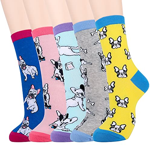 Moyel 5 Pairs of Women Socks, French Bulldog Socks Funny Cute Socks Gifts for Women