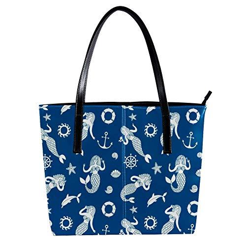 TIZORAX Damen-Handtasche, Meerjungfrauen und Anker, PU-Leder, modisch, Handtasche mit Tragegriff, Schultertasche