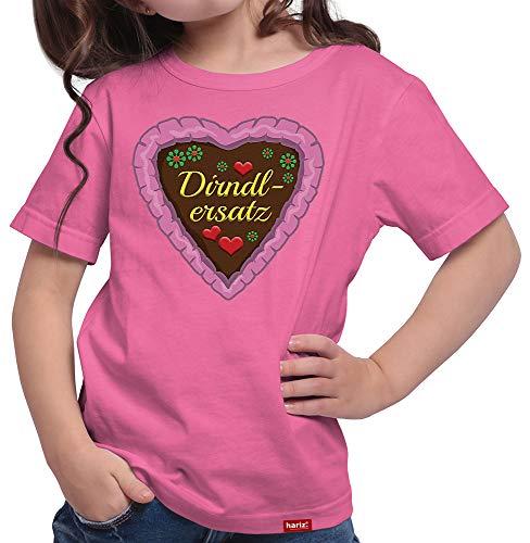HARIZ Mädchen T-Shirt Dirndlersatz Lebkuchen Oktoberfest Outfit Tracht Dirndl Lederhose Plus Geschenkarte Pink 164/14-15 Jahre