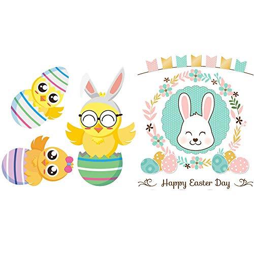 Chick and Eggs Pegatinas Pascua Pascua decoración para decoración de Ventana de habitación de niños, calcomanías de Ventana enana-re