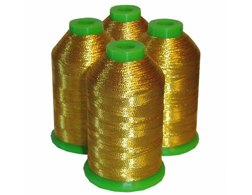 Lowest Prices! 4-cone Metallic Polyester Core Embroidery Thread Kit - MEDIUM GOLD - 1100 yards - 40w...
