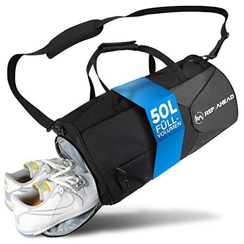 REP AHEAD® Fitness-Tasche - Innovative Sporttasche mit Schuhfach, Nassfach & Thermofach - Sport und Reise-Tasche mit 2 Außentaschen - Trainingstasche Herren & Damen (50L, 50x30x20cm)
