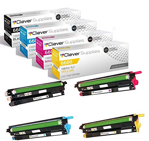 CS Compatible Replacement for Xerox 6600 108R01121 Black 108R01121 Cyan 108R01121 Yellow 108R01121 Magenta for Phaser 6600 Phaser 6600DN Phaser 6600N 6605 6605N Drum Cartridge 4 Color Set
