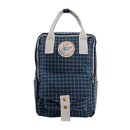 Micoop Medium Size Waterproof Check Backpack Handbag Travel School Bag for Girls and Women (Military Green M)