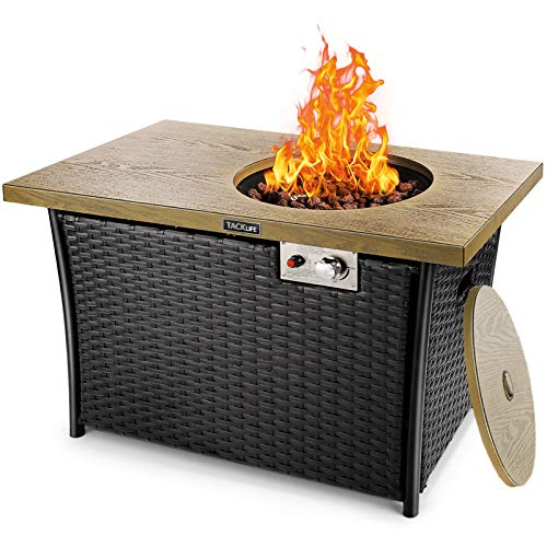 TACKLIFE 50,000 BTU Propane Gas Fire Pit Table, Steel Imitation Wood Grain Surface with...