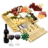 Cheese Board and Knife Set, Bamboo Charcuterie Board with Slide-Out Drawer and Stainless Steel Knives by Vistal