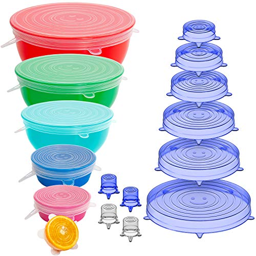Holikme 16 Pack Silicone Stretch Lids Reusable Durable Fit Different sizes...