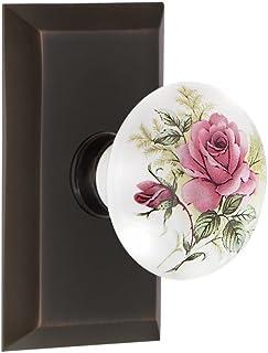 "Nostalgic Warehouse Studio Plate with White Rose Porcelain Knob, Passage - 2.375"", Timeless Bronze"