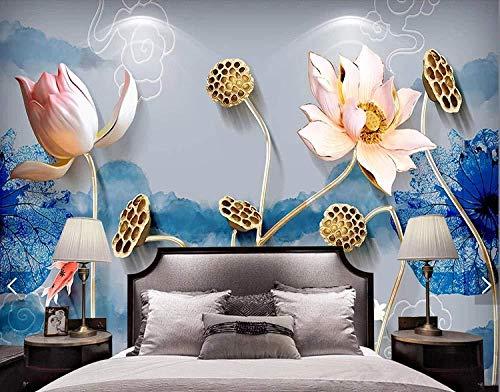 Achtergrond wanddecoratie schilderij nieuwe Chinese Feng Shui inkt Lotus sieraden eenvoudige 3D-reliëf achtergrond wanddecoratie schilderij behang grijs muursticker grens DIY baksteen badjas (W)200x(H)140cm (W)200x(h)140cm