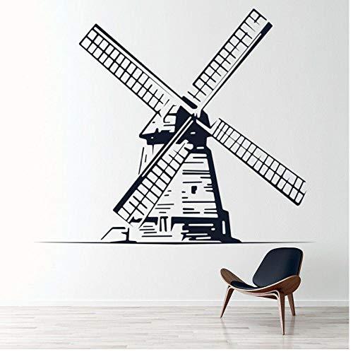 MUXIAND Muurstickers, Nederlands molen idee DIY PVC Home Decor Voor muur verwijderbare Art Decal Bed Room Living Mural Unieke Gift Verjaardag 57x67cm