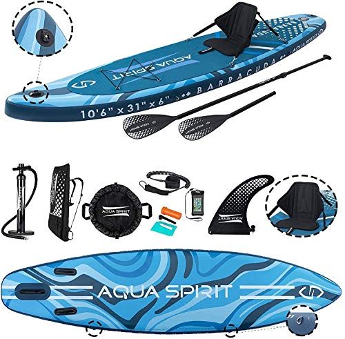 AQUA SPIRIT All Skill Levels Premium Inflatable Stand Up Paddle Board for Adults & Youth   Beginner & Intermediate iSUP Touring & Racing Model   Adjustable Aluminum Paddle Carry Bag SUP Safety Leash