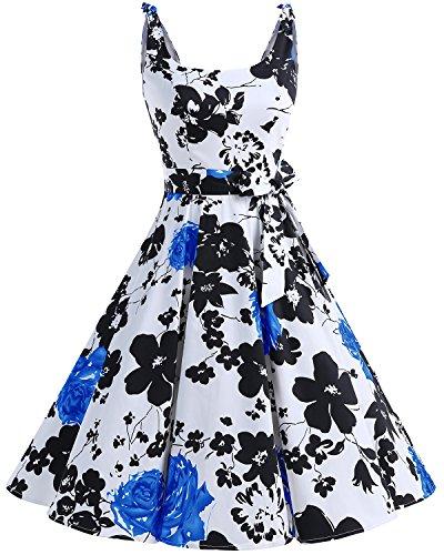 Bbonlinedress 1950er Vintage Polka Dots Pinup Retro Rockabilly Kleid Cocktailkleider BlueFlower 2XL