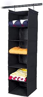 MAX Houser 6 Tier Shelf Hanging Closet Organizer, Cloth Hanging Shelf with 2 Sturdy Hooks,for Storage,Foldable (Black)