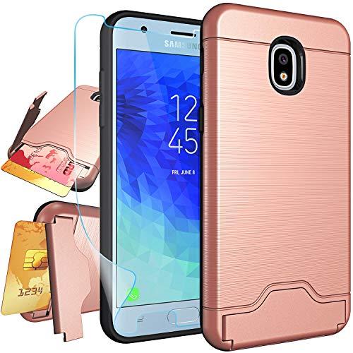 NiuBox Samsung Galaxy J3 2018 Case,Galaxy J3 Orbit,J3 Star,J3 Achieve,Express/Amp 3,J3 Aura,J3 V 3rd Gen,Sol 3 Case w/Screen Protector, Card Holder Wallet Kickstand Phone Cover Case Rose Gold