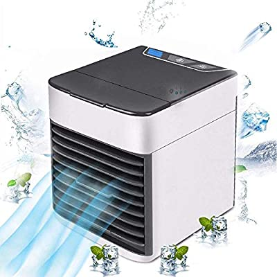 OH MY VAPOR 3-in-1 Air Cooler, Portable Desktop Mini USB Air Conditioner, 3 Fan Strong Airflow Speed 7 Colors LED Light For Personal Space Home Room Office