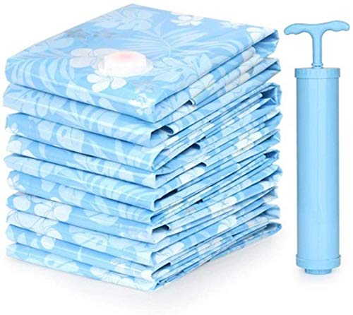 Storage Bag Bolsa de almacenamiento al vacío se utiliza para edredón, ropa de cama, almohada, ropa, colcha, suéter, colcha, ropa, maleta, 5 bolsas (110 x 100 cm) hermoso (color: azul)