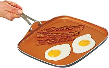 """Gotham Steel Nonstick Griddle Pan – 10.5"""" Griddle Perfect for making Eggs, Pancakes, Bacon and More – Coated with Ceramic and"""