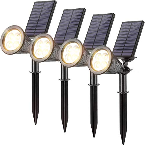 Solar Spotlights Outdoor JACKYLED Upgraded IP67 Waterproof Solar Powered Landscape Spot Lights 2-in-1 Wall Light Decorative Lighting for Flag Garden Backyard Path Lawn Driveway Pool, Pack of 4 (Warm)