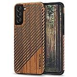 TENDLIN Kompatibel mit Samsung Galaxy S21 Hülle Holz Schutzhülle & TPU Hybrid Handyhülle (Holz und Leder)