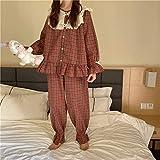 UXZDX Vintage Plaid Pijamas Conjunto De Las Mujeres Moda Volantes Ropa De Dormir Casual Mori Niñas Outwear Casa Traje Medieval Flare Manga