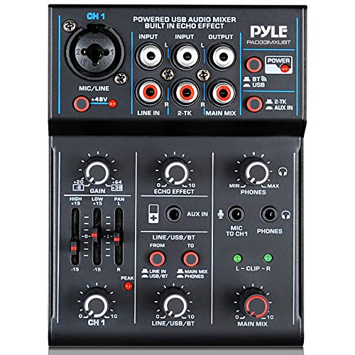 Professional Wireless DJ Audio Mixer - 3-Channel Bluetooth DJ Controller Sound Mixer w/USB Audio Interface, Combo Jack XLR+6.35mm Mic/Line/Guitar in, 3.5mm, RCA, AUX, Headphone Jack - Pyle PAD33MXUBT. Buy it now for 62.13