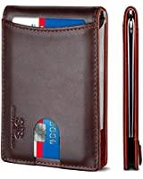 SERMAN BRANDS RFID Blocking Slim Bifold Genuine Leather Minimalist Front Pocket Wallets for Men with Money Clip (Melted Chocolate 1.0)