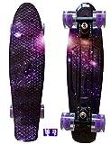 LMAI 22''Cruiser Skateboard Graphic Galaxy Starry Purple Board Complete Skateboard