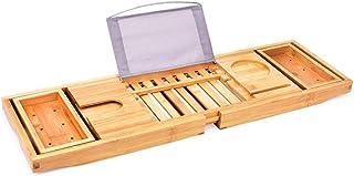 バスタブトレイ 竹 バストレー バステーブル 大サイズ バスブックスタンド 伸縮式 バスタブラック 竹製 お風呂用品
