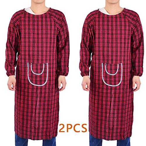 2-delige schort met lange mouwen - Mannen/vrouw werkkleding schort voor keuken/tuin/bakken/BBQ, Vlekbestendige schort
