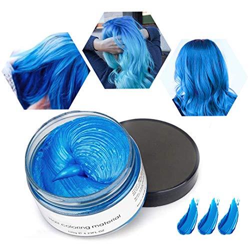 Haarwachs Temporäres Haarfarbe Wachs, Unisex Haarfärbemittel Wachs, Waschbares Pflanzenformel Mattes Natürliches Buntes Haarwachs (120g Blau)