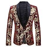 PYJTRL Men Fashion Velvet Sequins Floral Pattern Suit Jacket Blazer (Wine red 01, XL)