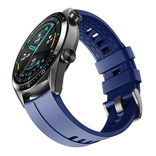 NotoCity Bracelet Huawei GT Bandes de Montres pour Huawei GT/Samsung Galaxy Watch 46mm / Gear S3, Bandes de Silicone de Sport 22mm (Bleu foncé)