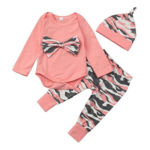 BeautyTop Baby Kleidung Set, 3Pcs Neugeborene Kleinkind-Baby-Mädchen-Jungen-Rosa-Tarnung-Bogen-Blusen-Oberseiten + Hosen + Bogen-Stirnband-Ausstattungs-Satz-Kleidung (70/0-6 Monat, 2)