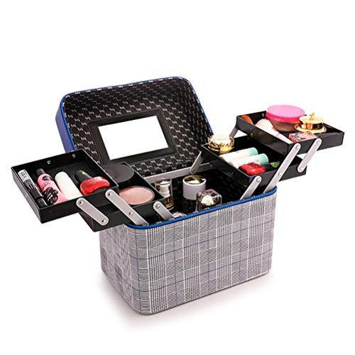 ZXCY Multifunzionale Custodia per Il Trucco Caso di Vanità Beauty Box per Smalto per Gioielli Custodia per Accessori di Bellezza Valigia Cosmetica da Viaggio,A