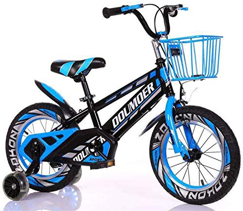 Durable Bicycle Kids Bike Child's Bicycle with Hummer Flash Training Wheels, 12' 14' 16' 18' Inch Boys/Girls Pedal Bikes for 3-6-9-Year-Old with Basket Alloy Frame with Disc Brakes