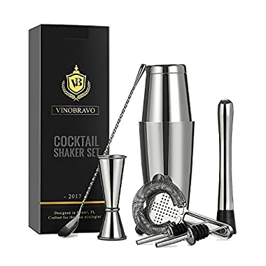 Boston Cocktail Shaker Bar Set By VinoBravo: 18oz & 28oz Weighted Shaker Tins, Hawthorne Cocktail Strainer, Double Jigger, 12'' Mixing Spoon, 7'' Drink Muddler and Recipes (Silver)