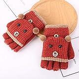 UGGHGHK Alte Winter Kinder Handschuhe Cartoon Bär Gestrickte Handschuhe Halbe Finger Warme Handschuhe Mode Kinder Handschuhe Für Jungen Mädchen
