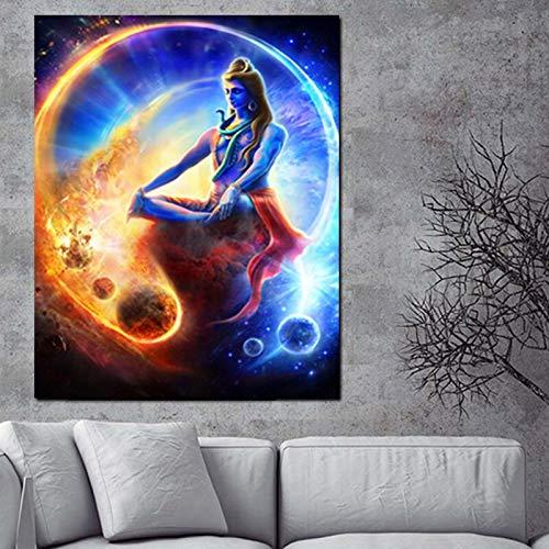 ganlanshu Rahmenlose Malerei Modernes Bild des Wohnzimmers des religiösen Porträts des indischen Buddha von Gott auf Leinwand psychedelisches PlakatCGQ7023 40X50cm