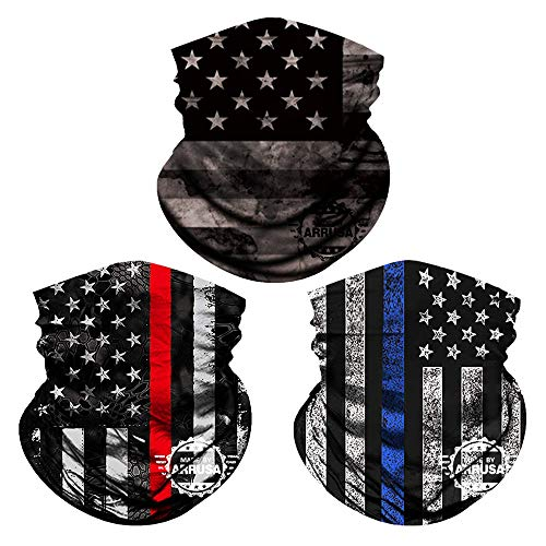 ARRUSA American Flag Reusable Face Mask, Washable Summer Cooling Neck Gaiter for Men&Women, Fashion Cloth Mask for Mouth Cover(3pcs-Stripe)