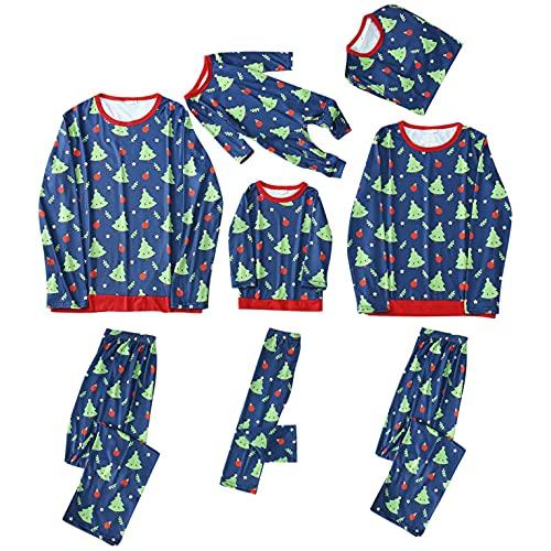 Alueeu Conjunto de Pijamas Navideños para Familia Padre Madre Bebé 2 Piezas Camiseta de Manga Larga + Pantalones Largos Impresión Del árbol de Navidad